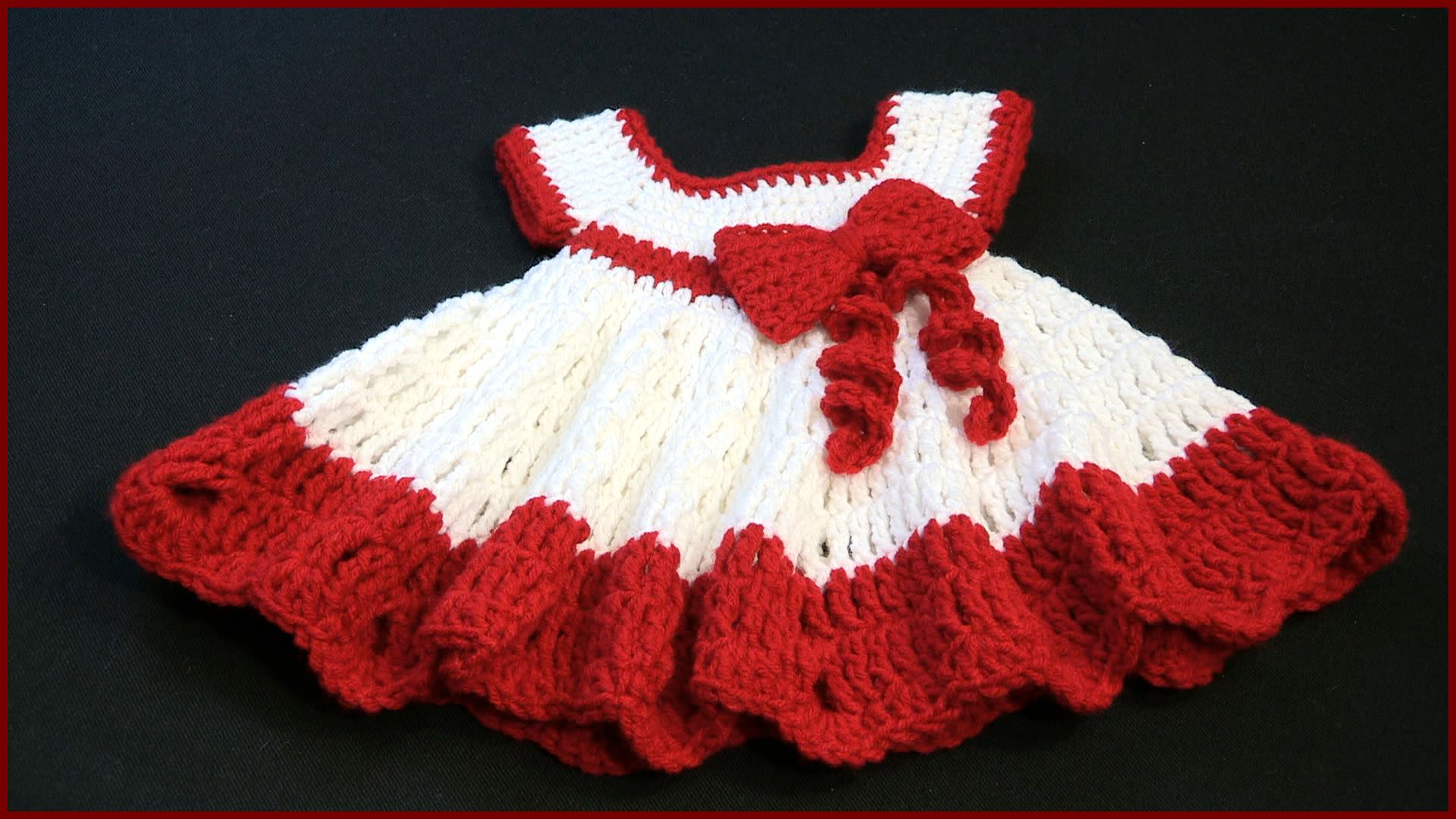 Crochet Baby Winter Dress Pattern : Crochet Tutorial: Baby Dress with a Bow YARNutopia by ...