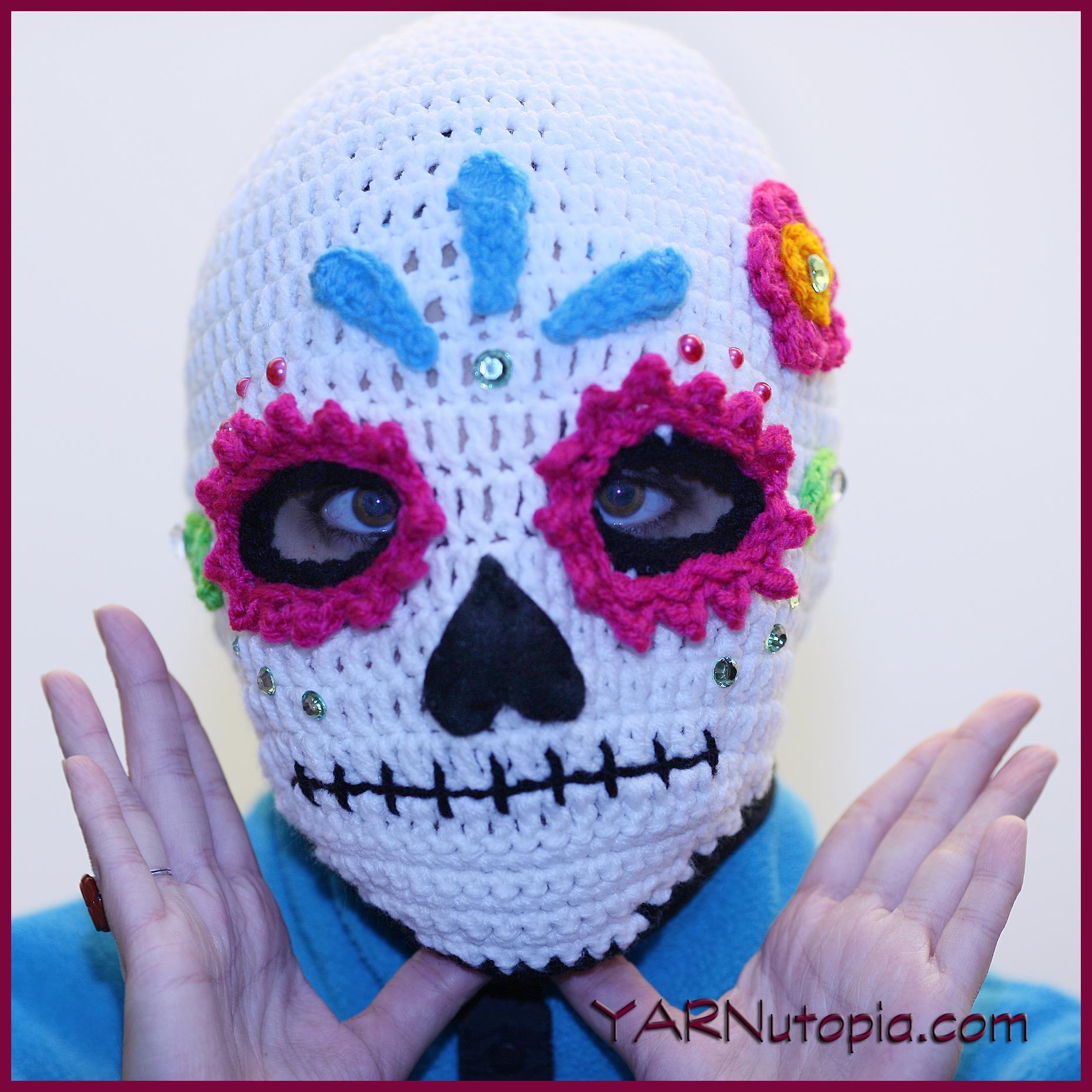 Crochet Tutorial Sugar Skull Ski Mask Yarnutopia By Nadia Fuad