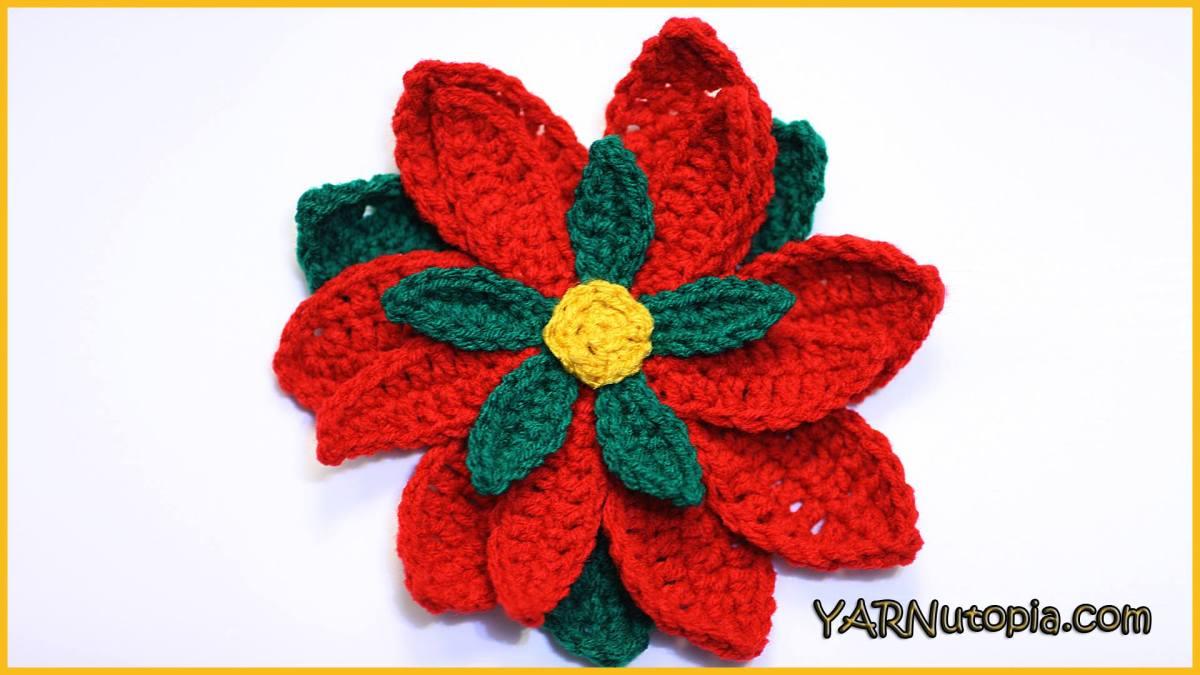Crochet Tutorial Poinsettia Yarnutopia By Nadia Fuad