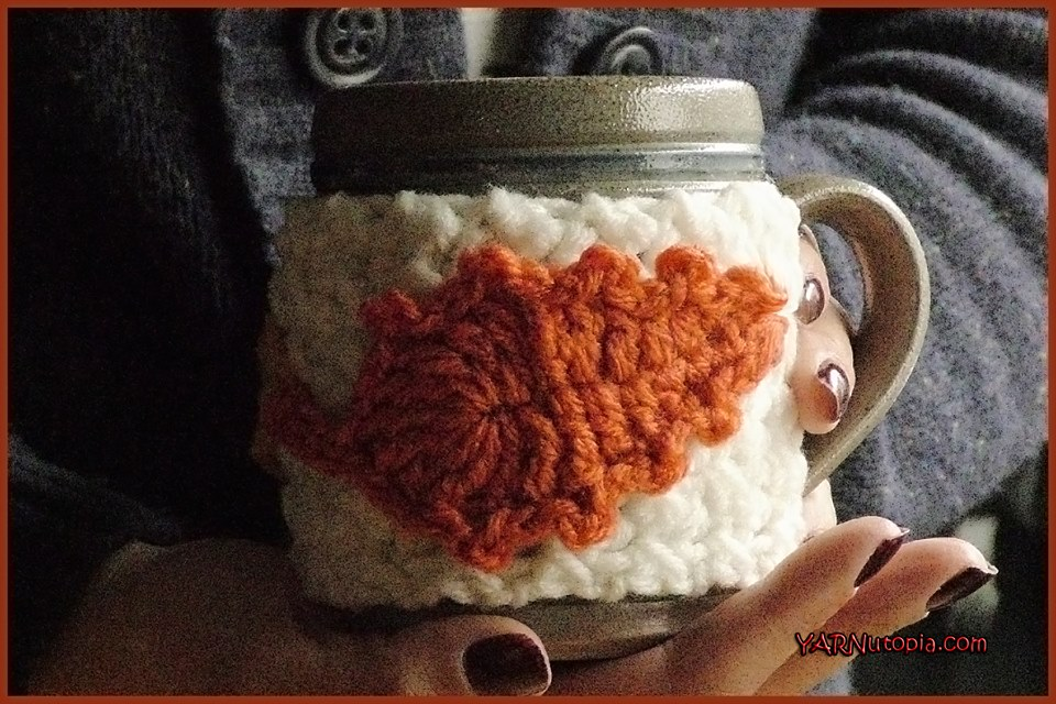 Crochet Tutorial Fallen Leaves Cup Cozy Yarnutopia By Nadia Fuad