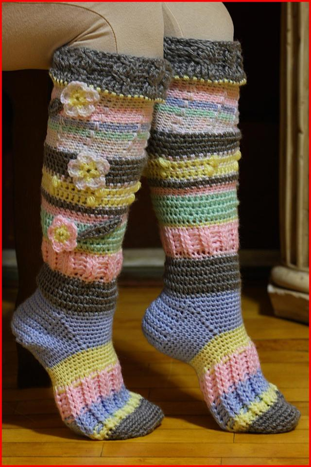 Crochet Tutorial Knee High Socks Yarnutopia By Nadia Fuad