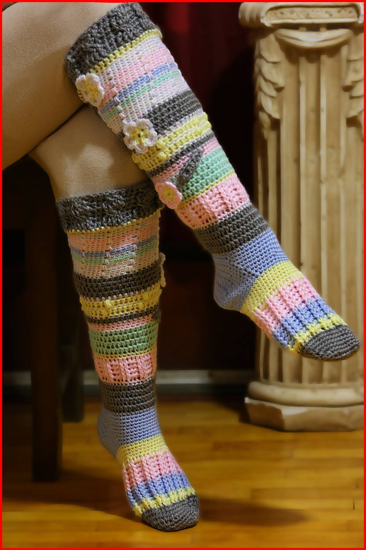 Knitting Pattern For Over The Knee Socks : Crochet Tutorial: Knee-High Socks   YARNutopia by Nadia Fuad