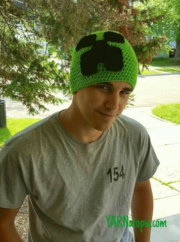 How To Crochet Minecraft Creeper Hat Yarnutopia By Nadia Fuad