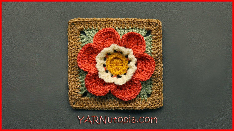 Crochet Tutorial Autumn Flower Granny Square Yarnutopia By Nadia Fuad