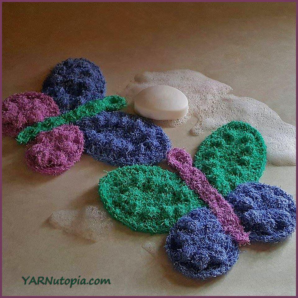 Crochet Tutorial: Butterfly Scrubby Washcloth « YARNutopia by Nadia Fuad