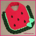 Crochet Tutorial: Watermelon Baby Bib